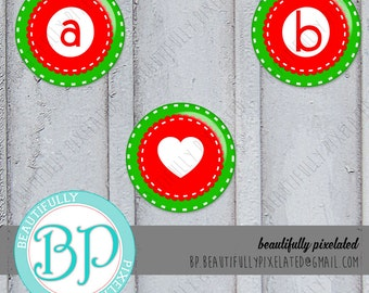 Greenie, Green A-Z Alphabet Set - Digital Collage Sheet - 1 Inch Circles for Bottlecaps, Hair Bows, Pendants - Instant Download
