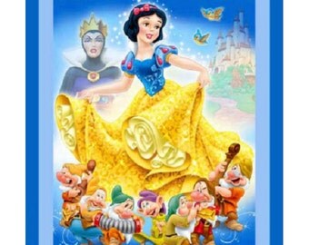 "DISNEY Clasic Story SNOW WHITE & The Seven Dwarfs 100% Ccotton fabric panel 35"" x 42"""
