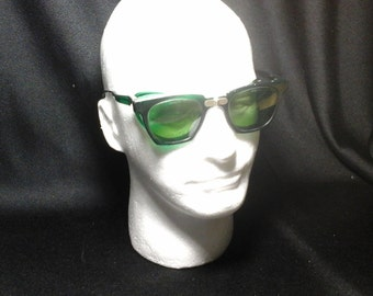 50s Green Folding Safety Glasses, Willson Shield Goggles, Safety Goggles