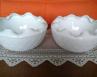 """Milk Glass Bowl, Indiana Milk Glass """"Quilted, Turned - In, Ruffled"""" Bowl, 8 Inch Bowl"""