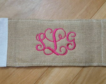 Monogrammed Burlap Wrap Around Drink Holder