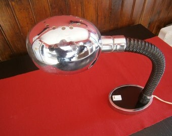 Vintage 1970s desk lamp chrome with drum coil rubber