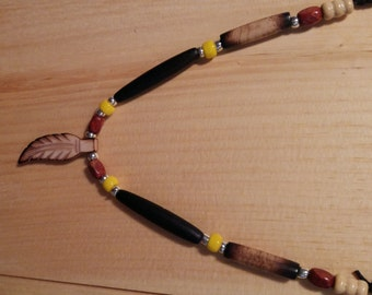 Native American necklace with pendant bone