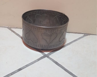 punched tin large candle holder