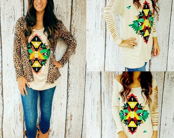 Distressed Aztec Tunic Top