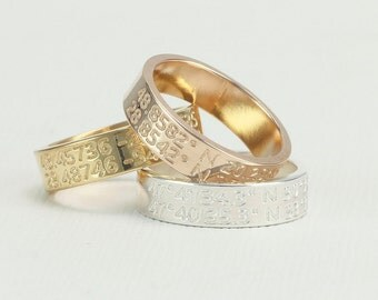 Coordinate ring,Double Coordinate Ring. Latitude Longitude Ring . Personalized Jewelry . Location Ring, wide ring, FT 2