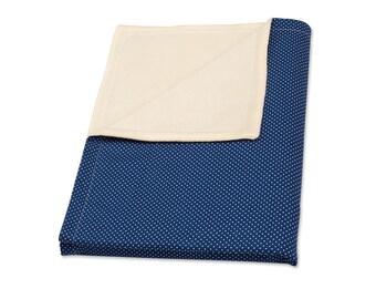 KraftKids baby blanket - white dots on dark blue