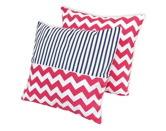 KraftKids pillowcase - Chevron magenta and thick Marin blue strips