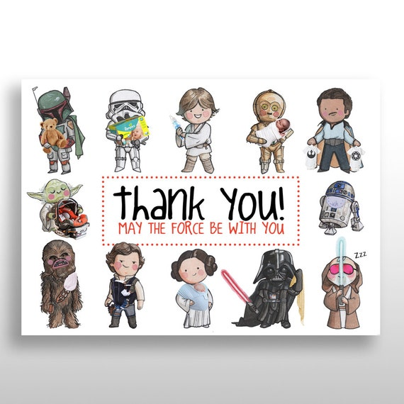 Exceptionnel CUSTOMIZED PRINTABLE Star Wars Baby Shower Thank You Cards NP63