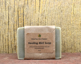 Healing Mint Organic Soap, Organic Soap, Organic Mint Soap, Organic Cold Process Soap,Organic Natural Soap,French Green Clay Soap