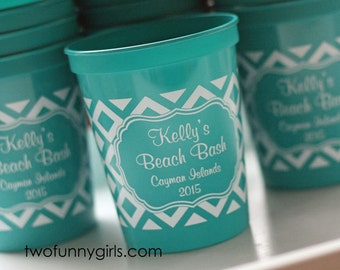 Personalized Stadium Cups with Patterned Wrap {16 oz}
