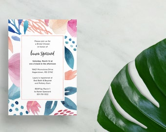 watercolor bridal shower invitations // floral invites // blue coral watercolor flowers // summer party invite // printable custom invite