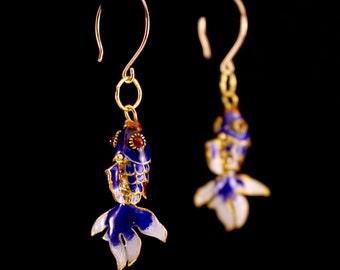 Cloisonne Fish Earrings- Blue