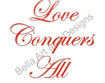JPG Love Conquers All with heart borders - digital artwork