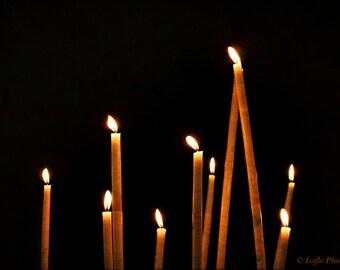 Petites Lumieres Dans Le Noir - Signed Limited Edition Fine Art Photography Print/Canvas/Modern/Wall Art/Church Candles/Yellow/Black/Orange