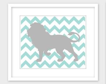 Lion Nursery Print, Safari Nursery Decor, Gray Blue Chevron Printable Wall Art, Instant Digital Download