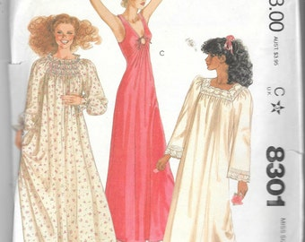 """Vtg 1980s Misses Long Nightgown Sewing Pattern Size Small 10 to 12 Bust 32 1/2"""" to 34"""""""