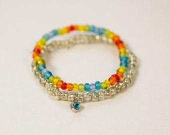 rainbow and silver bracelet set