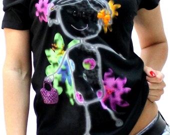 Girl Teen Women Lady Black Cotton Print T shirt 3d Top Blouse