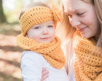 Gold toddler cowl and ear warmer set