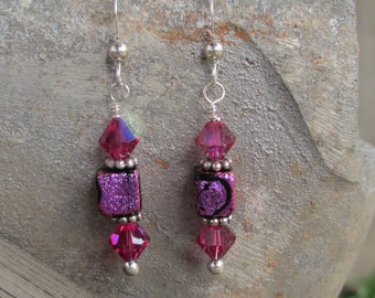 Pink dichroic glass cube earrings with pink Swarovski crystals on sterling silver ear wires