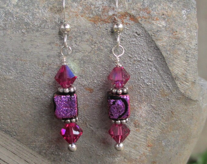 handmade pink dichroic glass cube earrings with pink Swarovski crystals on sterling silver ear wires