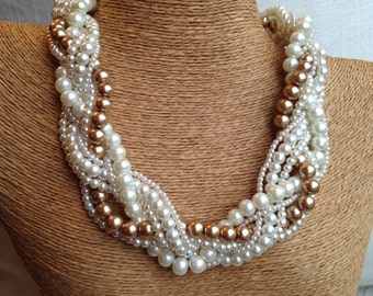 Chunky pearl necklace, braided pearl, ivory pearl necklace, pearl necklace, bride necklace, statement necklace, bronze pearls, bridesmaids