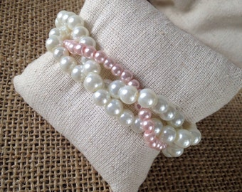 Braided cuff, ivory pearl bracelet, bridesmaids bracelet, ivory bracelet, pearl bracelet, ivory and pink bracelet, pink pearl bracelet, pink