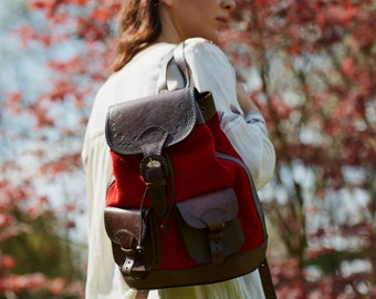 Rocio rucksack in red suede and brown leather (M size)