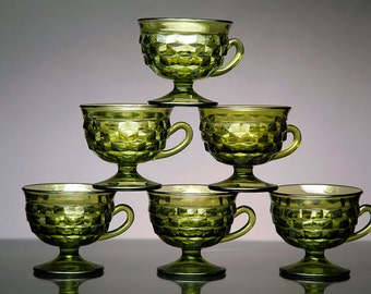 Vintage Green Indiana Glass Whitehall Footed Punch Cups Set of Six