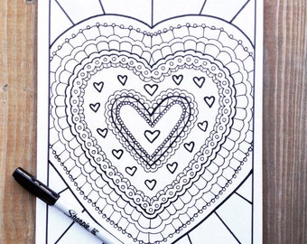 Adult Coloring Pages- Love- Printable