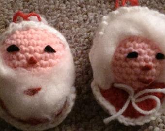 Vintage crochet Santa and Mrs. Clause Styrofoam ornaments