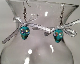 Turquoise Skully Earrings