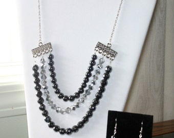 Hematite & Silver necklace and earrings