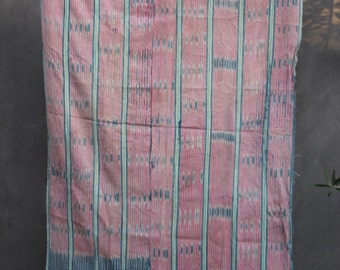 vintage african striped mud cloth pink stripe fray edge
