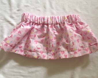 """Hand Made Baby Girls Skirt in """"Kitty Print Size 00-0"""
