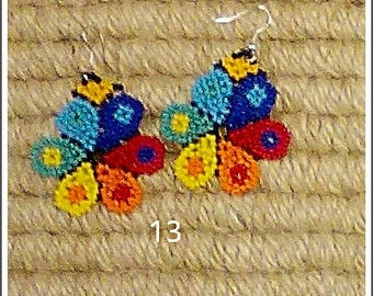 Handmade Beaded Earrings Huichol Mexican Flower with glass seed beads