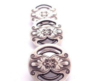 "Button Jewelry Supplies Closure Antique Silver Countryside Metal Buttons with Shank  5/8"" (16mm)"