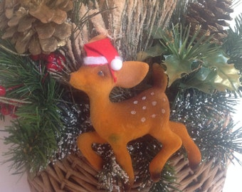 Vintage Reindeer Wall Decor, 1950s, Holiday Decor, Christmas Kitsch, Rudolph the Red Nose Reindeer, Christmas Decorating