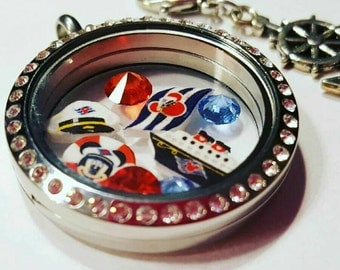 Disney Cruise Locket and Float Charm Theme Set - Cruise Vacation - Living Locket - Mickey Charm - Cruise Ship - Anchor