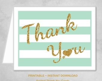 Printable Mint Gold Heart Thank You Cards Children Kids Girls Birthday Party Thank You Cards ~ DIY Instant Download