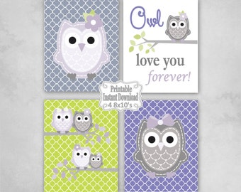 Printable Owls Baby Nursery Wall Art Decor in Lavender Grey Green Owls Baby Girl Infant Child Kids ~ DIY Instant Download ~ 4 8x10 Prints