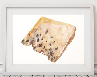 Cheese print Kitchen art Watercolor poster Food print ACW962
