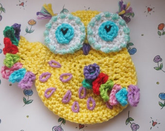 Crochet owl pattern, crochet pattern Owl, crochet owl applique, crochet owl, crochet applique