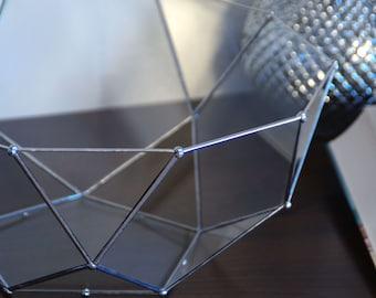 Terrarium glass facets. Half Icosidodecahedron. Geometric.