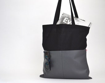 Shopping Bag for him, Shopping Bag, Cotton Bag, Black Bag, Grey Fake Leather