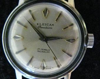 Rare Vintage Leica Precision 17 Jewels Incabloc Swiss Men's Wrist Watch