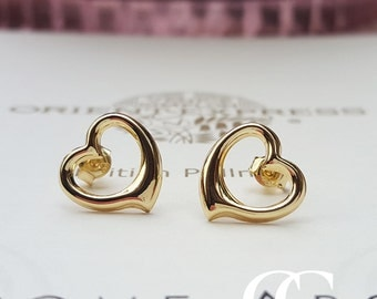 Fine 9ct Yellow Gold Open Heart Stud Earrings
