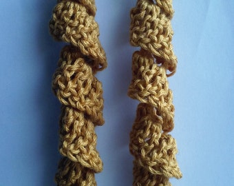 Long Swirly Party gold crochet pierced earrings