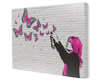 Graffiti Girl (Butterflies) 16x20 inch Canvas